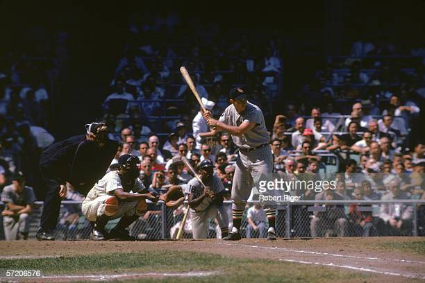 American professional baseball player Roy Sievers of the Chicago White Sox prepares to swing at home plate during a game with the New York Yankees at...