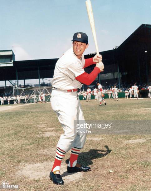 American professional baseball player Stan Musial of the St Louis Cardinals poses for an action portrait St Louis Missouri circa 1960 Musial played...