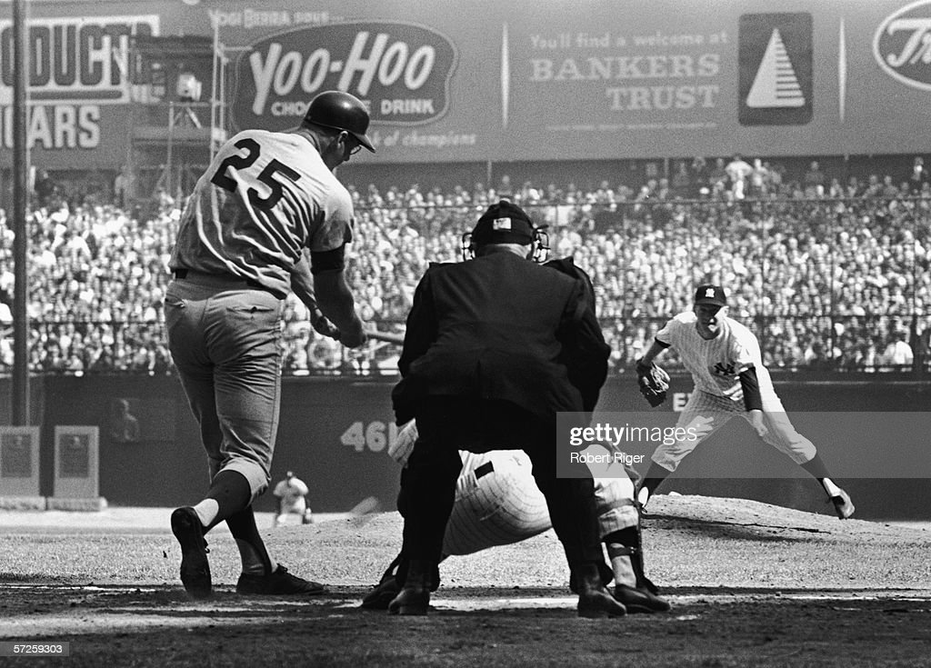 American professional baseball player Whitey Ford (right) pitches the ball to opponent Frank Howard (left) of the Los Angeles Dodgers during the World Series, Yankee Stadium, the Bronx, New York, October 1963. The Dodgers swept the series in four games.
