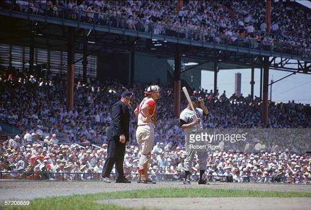 American professional baseball player Willie Mays of the San Francisco Giants waits at home plate during a game with the Cincinnati Reds at Crosley...