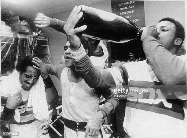 American professional baseball players outfielder Harold Baines second baseman Julio Cruz and outfielder Rudy Law of the Chicago White Sox celebrate...