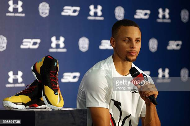 American professional basketball NBA player Stephen Curry of the Golden State Warriors attends a commercial event for Under Armour at Asian Games...