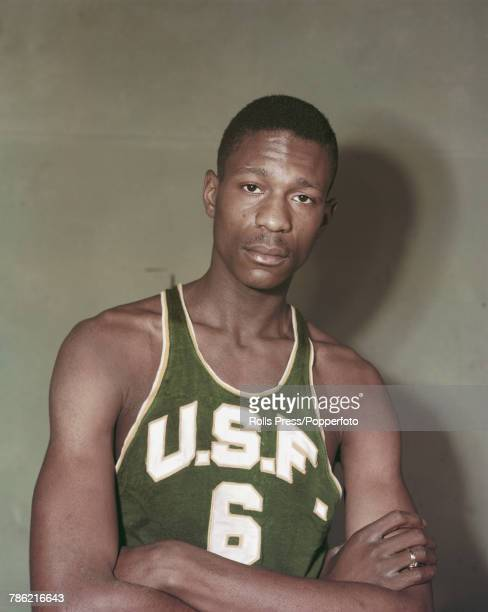 American professional basketball player Bill Russell poses wearing a University of San Francisco vest in the United States circa 1956 Bill Russell...