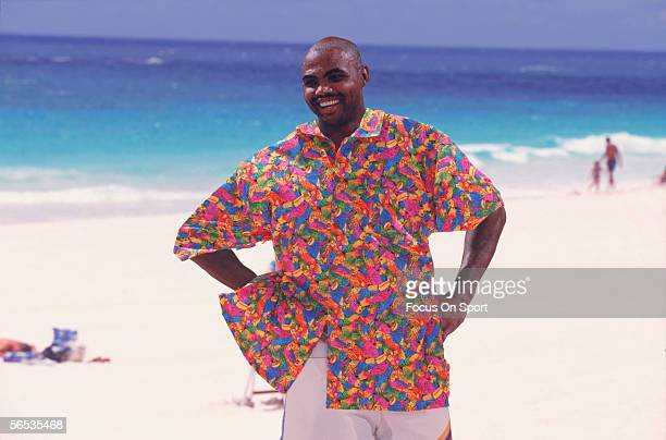 American professional basketball player Charles Barkley of the Philadelphia 76ers poses circa the 1980's on a tropical beach