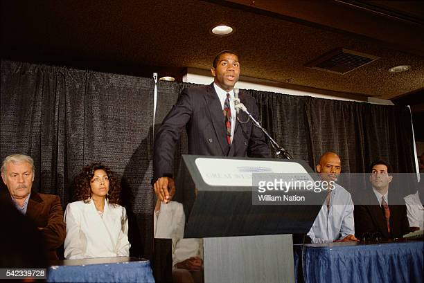 American professional basketball player Magic Johnson holds a press conference at the Great Western Forum. Johnson announced his retirement from...