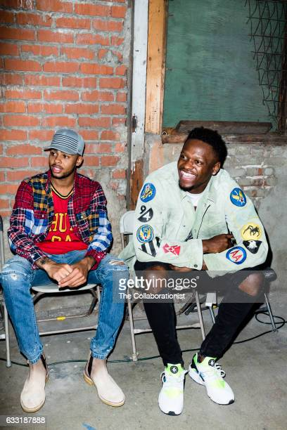 American professional basketball players for the Los Angeles Lakers Julius Randle and D'Angelo Russell are photographed for Bleacher Report on...