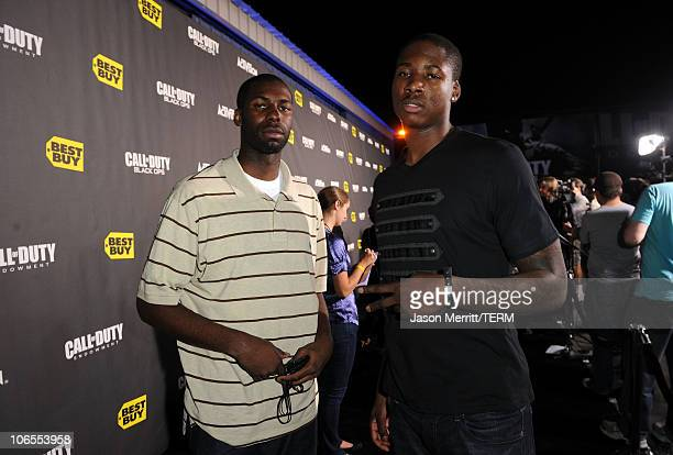 American professional basketball players Julian Wright and Ed Davis arrive at the exclusive the Call Of Duty Black Ops Launch Party held at Barker...