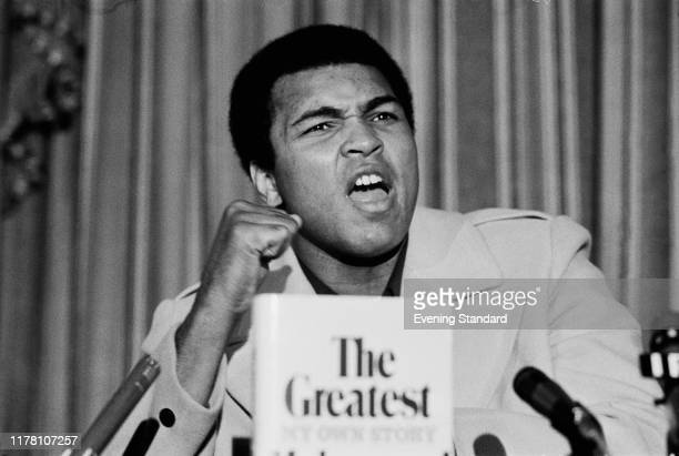 American professional boxer, activist, and philanthropist Muhammad Ali at a press conference presenting his new autobiographical book 'The Greatest:...