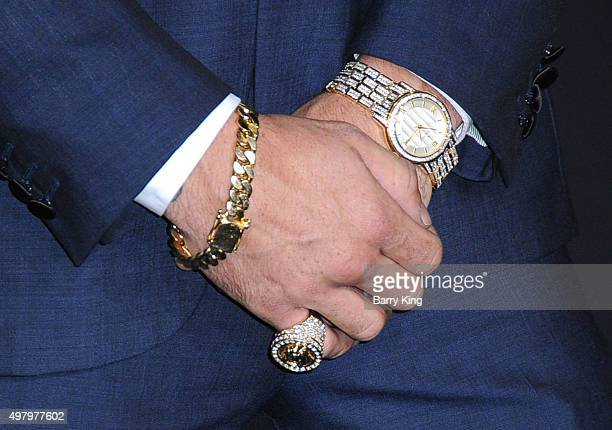 American Professional Boxer Gabriel Rosado jewelry detail attends the Premiere Of Warner Bros Pictures' 'Creed' at the Regency Village Theatre on...