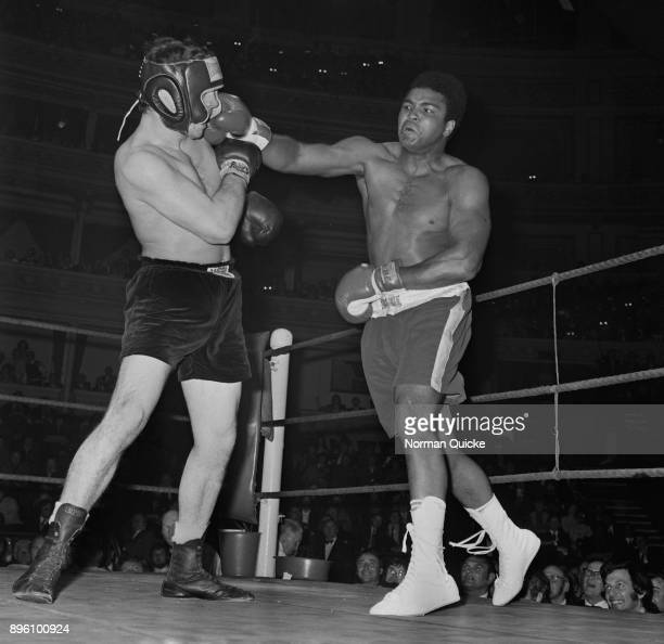 American professional boxer Muhammad Ali in action at the Royal Albert Hall, London, UK, 21st October 1971.