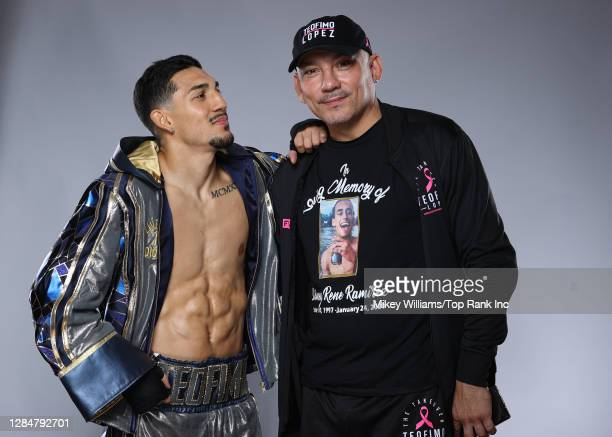 American professional boxer Teófimo López and his father Teofimo Lopez Sr. Pose for a portrait on October 16, 2020 in Las Vegas, Nevada.
