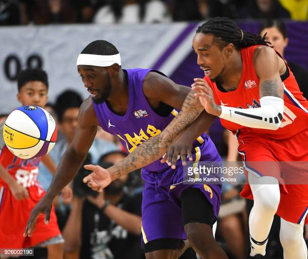 American professional boxer Terence Crawford and American Rapper Quavo chase down the ball during the 2018 NBA AllStar Game Celebrity Game at Los...