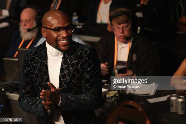 American professional boxing promoter and professional boxer Floyd Mayweather Jr attends the WBA welterweight championship between Manny Pacquiao and...