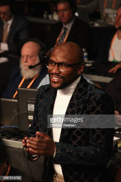 American professional boxing promoter and professional boxer Floyd Mayweather attends the WBA welterweight championship between Manny Pacquiao and...