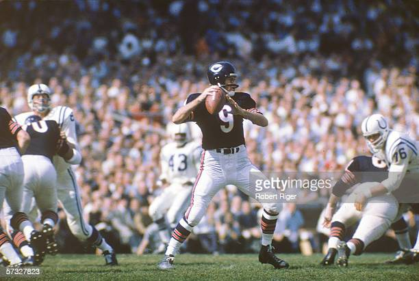 American professional football player Bill Wade quarterback of the Chicago Bears prepares to pass the ball during a game against the Baltimore Colts...