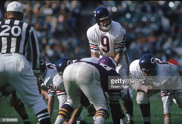 American professional football player Bill Wade quarterback of the Chicago Bears calls out a play during a road game against the Minnesota Vikings...