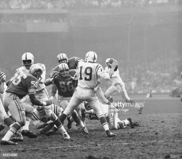 American professional football player Joe Schmidt of the Detroit Lions charges towards Baltimore Colts quarterback Johnny Unitas during a game...