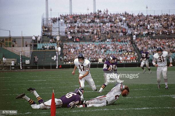 American professional football player Richie Petitbon of the Chicago Bears runs towards the action as an opponent from the Minnesota Vikings tackles...