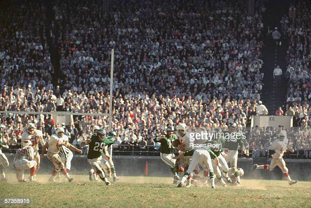 American professional football players of the St Louis Cardinals and Philadelphia Eagles play a game probably at Philadelphia October 1961