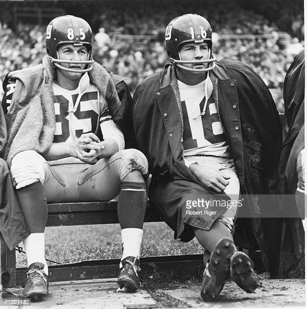 American professional football players wide receiver Del Shofner and halfback Frank Gifford of the New York Giants sit on the bench during a game...