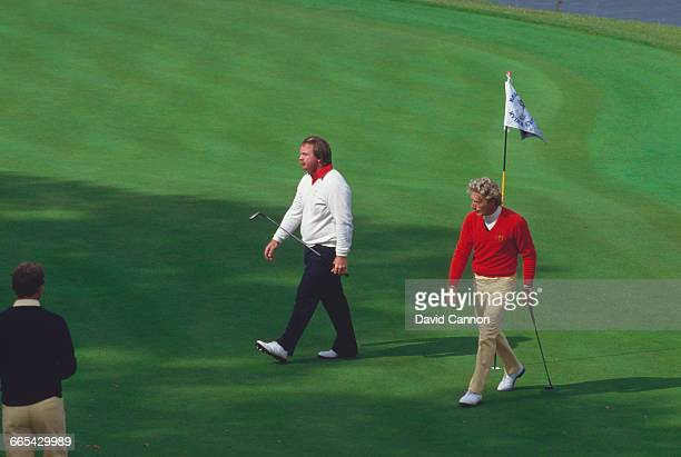 American professional golfer Craig Stadler misses a key 18-inch putt at the 18th, during the 1985 Ryder Cup at the Brabazon Course of The Belfry in...