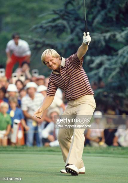 American professional golfer Jack Nicklaus holes a putt on the 17th green prior to finishing in first place to win the 1980 US Open golf championship...