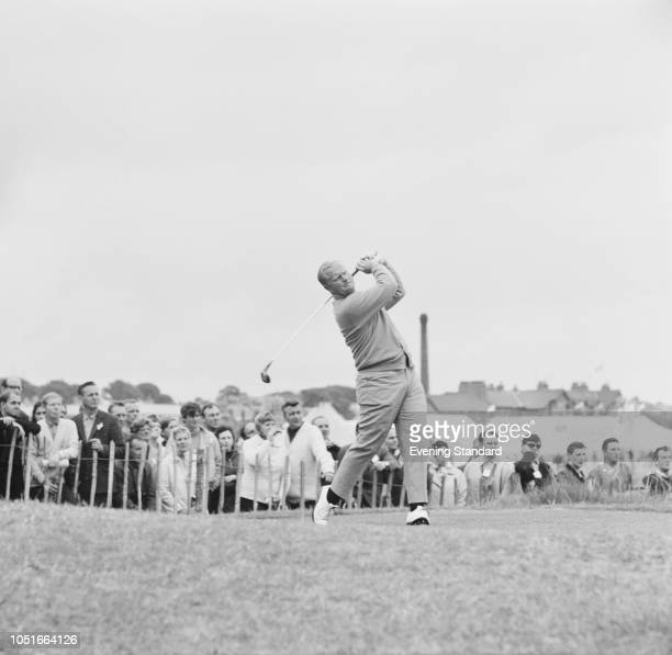 American professional golfer Jack Nicklaus in action at the Open Championship, Angus, Scotland, UK, 12th July 1968.