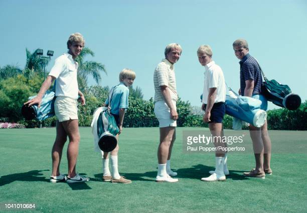 American professional golfer Jack Nicklaus pictured in centre with members of his family from left Jackie Nicklaus Michael Nicklaus Jack Nicklaus...