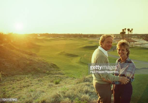 American professional golfer Jack Nicklaus pictured with his wife Barbara on a golf course at Grand Cypress Orlando Golf Club in Orlando Florida...