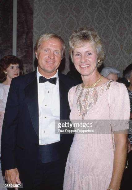 American professional golfer Jack Nicklaus pictured with his wife Barbara Nicklaus as they attend The Golfer of the Century Awards dinner at the...