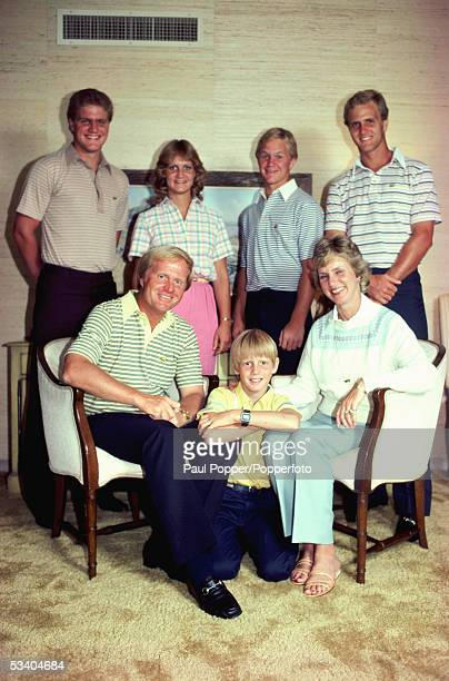 American professional golfer Jack Nicklaus pictured with his wife Barbara and family in the United States in May 1983 Back row from left Steve...