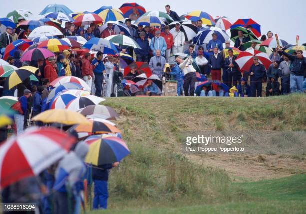 American professional golfer Jack Nicklaus plays a shot during competition in the 1987 Open Championship golf tournament at Muirfield Golf Links in...