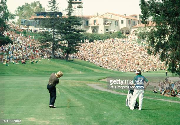 American professional golfer Jack Nicklaus plays a shot during competition to finish in 2nd place in the 1983 PGA Championship at Riviera Country...