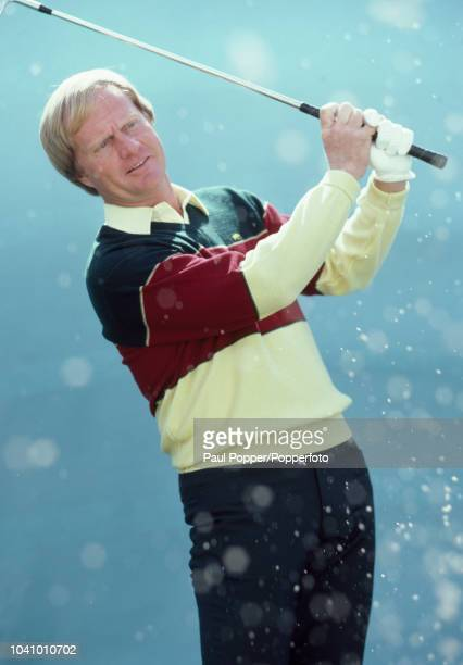 American professional golfer Jack Nicklaus posed holding a golf club during a photo call in Florida United States in February 1983