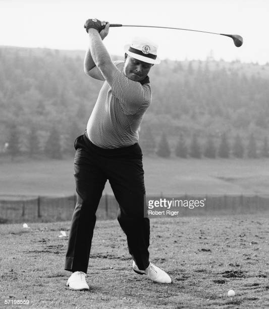 American professional golfer Jack Nicklaus swings his club as practices his stroke during the PGA Championship Laurel Valley Country Club Ligonier...