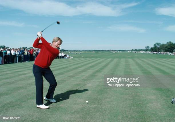 American professional golfer Jack Nicklaus tees off at the opening of the Kauai Lagoons golf course in Hawaii United States in December 1987