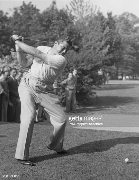 American professional golfer Lawson Little , current National Open champion, pictured in action at the 12th tee in the third round of the Goodall...
