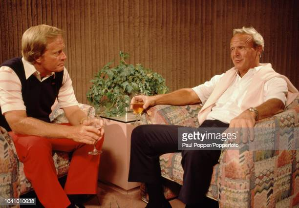 American professional golfers Jack Nicklaus and Arnold Palmer pictured in discussion prior to competing in the 1986 Skins Game at the PGA West...