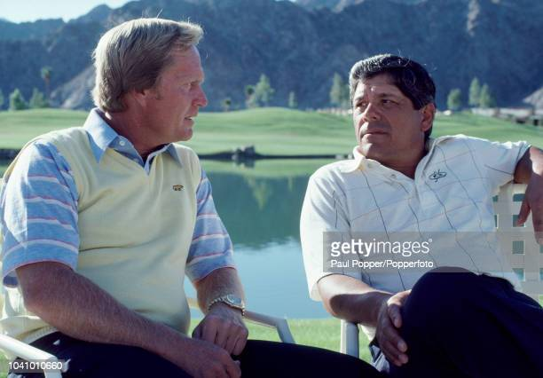 American professional golfers Jack Nicklaus and Lee Trevino pictured in discussion at the PGA West Stadium Course in La Quinta California during the...