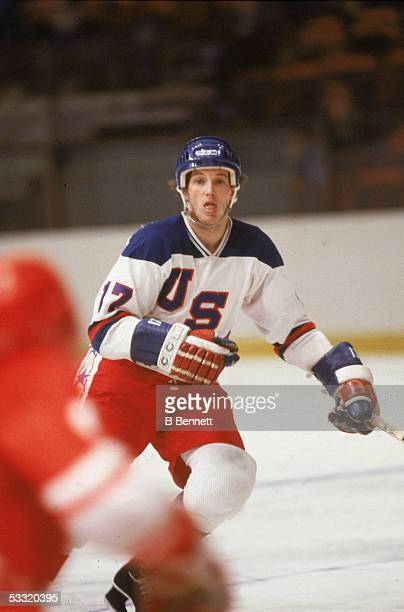 American professional hockey player Jack O'Callahan of Team USA skates on the ice during an 1980 exhibition game against the Soviet Union on February...