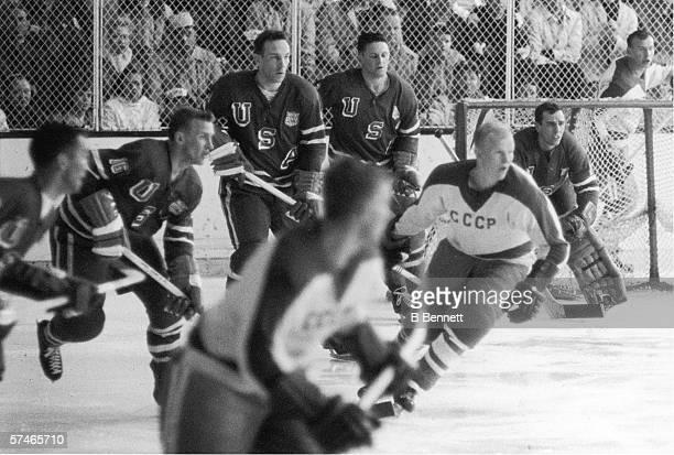 American professional hockey player John Mayasich defenseman for Team USA on the ice during the final round of men's ice hockey with the Soviet Team...