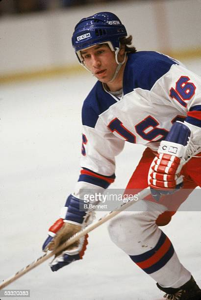 American professional hockey player Mark Pavelich of Team USA skates on the ice during an 1980 exhibition game against the Soviet Union on February 9...
