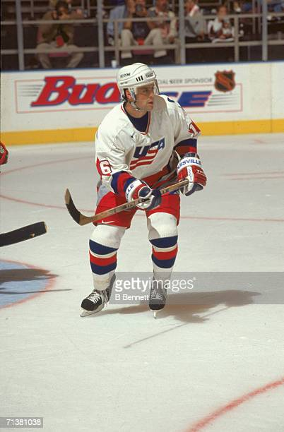 American professional hockey player Pat LaFontaine of Team USA skates on the ice during the World Cup of Hockey tournament 1996 The tournament...