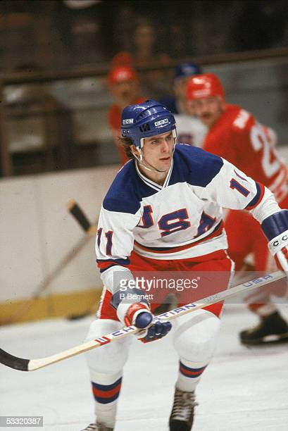 American professional hockey player Steve Christoff of Team USA skates on the ice during an 1980 exhibition game against the Soviet Union on February...