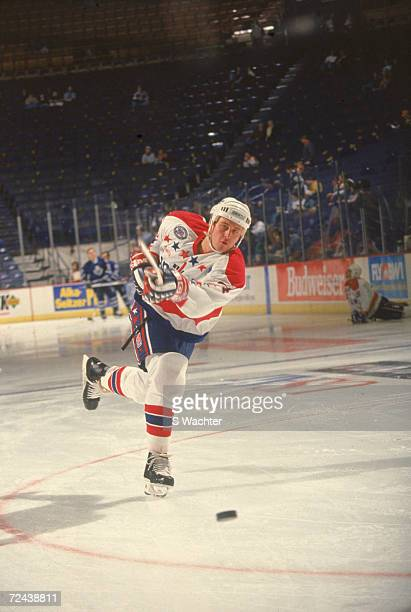 American professional ice hockey player Al Iafrate of the Washington Capitals skates on the ice before a home game at the Capital Centre Landover...