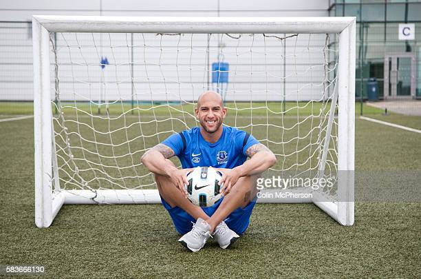American professional soccer player Tim Howard pictured at the training ground of the club he plays for in England Everton FC Howard has been a USA...