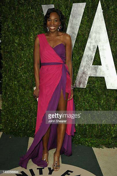 American professional tennis players Venus Williams arrives at the 2012 Vanity Fair Oscar Party hosted by Graydon Carter at Sunset Tower on February...