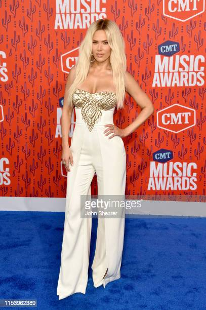 American professional wrestler CJ Perry attends the 2019 CMT Music Awards at Bridgestone Arena on June 05 2019 in Nashville Tennessee