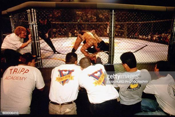 "American professional wrestler Dan ""The Beast"" Severn wins the 1995 Ultimate Fighting Championship, by defeating Russian Oleg Taktarov."