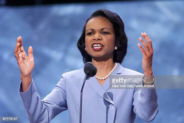 American professor and political scientist Condoleezza Rice, here serving as George W Bush's foreign policy advisor, speakers during the second night...